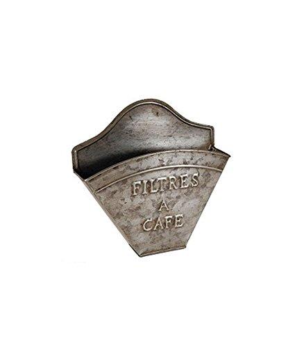 Kaffeefilterhalter Filtertütenhalter Vintage, aus Zink, Breite 20 cm Tief 5 cm Höhe 20 cm