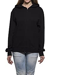 Clifton Womens Sweat Shirt With Hood-Black-S