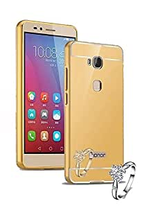 Droit Luxury Metal Bumper + Acrylic Mirror Back Cover Case For Honor5 - X Gold + Flexible Portable Thumb OK Stand by Droit Store.