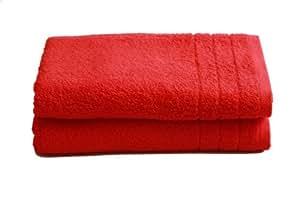 """2 tlg.Duschtuchset """"Selmin"""" 2x Duschtücher 70x140 cm in Rot, 100% Baumwolle 600 g/m²"""