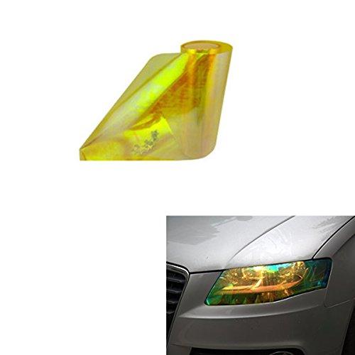 ABy 200cm x 30cm Scheinwerfer Folie Tönungsfolie Aufkleber für Auto Scheinwerfer Rückleuchten Blinker Nebelscheinwerfer(Gelb)