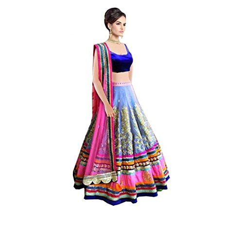 The Diwa Label Women\'s Silk Pink & Blue Embroidered Semi Stitched Lehenga With Blouse Pc (EC37)