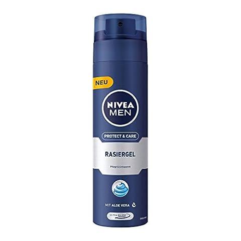NIVEA Men, 3er Pack Rasiergel für Männer, 3 x 200 ml Spender, Protect & Care