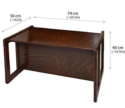 3 in 1 Adults Multifunctional Nest of Coffee Tables Set of 3 or Children's Multifunctional Furniture Set of 3, Two Small Chairs or Tables and One Large Bench or Table Beech Wood, Dark Stained