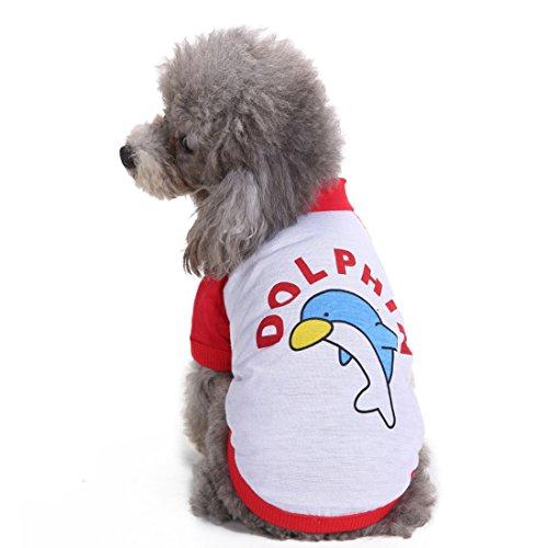 aisuper Pets T-Shirts für kleine mittelgroße Hunde Dolphin Print Puppy Kleidung Jumper Cute ursächliche Katze Jumper 2Farben Französische Bulldogge Pudel Mops Chihuahua Apparel (Kleidung Französische Bulldogge)