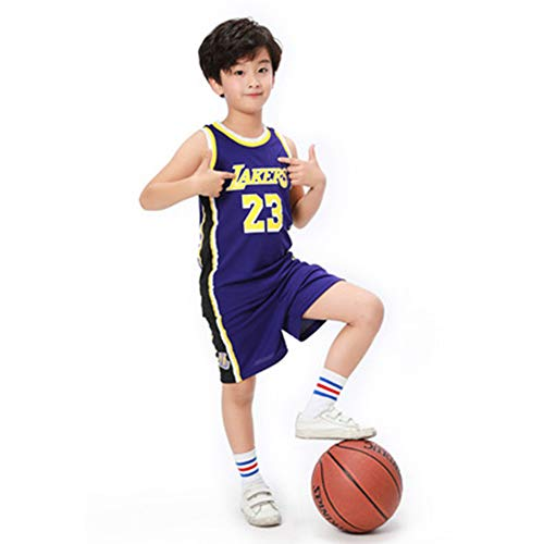 LZNK Kinder Retro Gym Weste Basketball Jerseys Set -Lakers23 Mesh-Basketball Fußball Set Shirt TOP Shorts-s