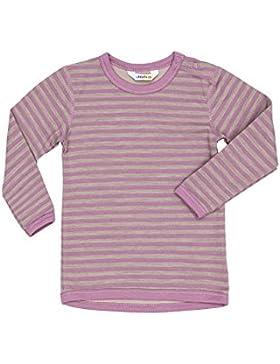 Joha Langarm T-Shirt - Wolle, Kinder, 120/6 Jahre, rosa/grå