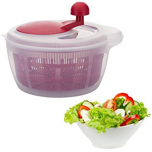 Westmark 2432224R Essoreuse à salade Fortuna sans pieds anti-dérapants en rouge Plastique, 30 cm