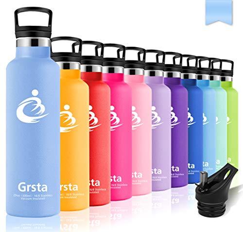 Grsta Sport Trinkflasche Edelstahl - 350ml/12oz-Blau Lila- Vakuum Isolierte Wasserflasche, BPA Frei Auslaufsicher Sportflasche, Thermosflasche für Kinder, Kleinkinder, Camping, Schule