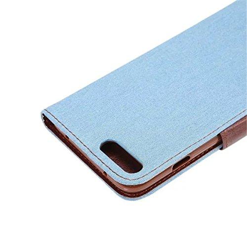 iPhone 7 Plus Coque, Apple iPhone 7 Plus Coque, Lifeturt [ Bleu ] Motif Pure Couleur Housse en Cuir Case à Avec La Fonction Stand Coque de Intérieure Protection Souple Coque Portefeuille TPU Silicone  E2-Bleu clair