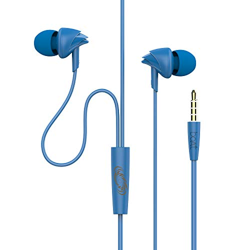 boAt Mumbai Indians Edition Bassheads 100 Wired Earphone with in-line Mic (Blue)