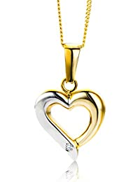Miore Damen-Anhänger  Herz 9 Karat 375 Brillant mit 45cm Kette