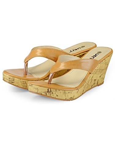 Nell Women Beige Solid Wedges ( Size-41)  available at amazon for Rs.399