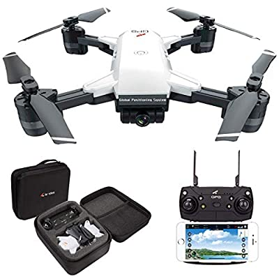 LE-IDEA IDEA10 WiFi FPV Drone With 1080P Wide-Angle HD Camera Live Video and GPS Satellite Positioning, Altitude Hold Quadcopter,Headless Mode Helicopter,Follow Me,Easy for Beginners,Carrying Bag