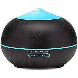 Tenswall 400ml Diffuseur d'Huiles Essentielles Humidificateur Ultrasonique avec 7 Couleurs Lumières LED pour la Maison, Yoga, Bureau, SPA, Chambre
