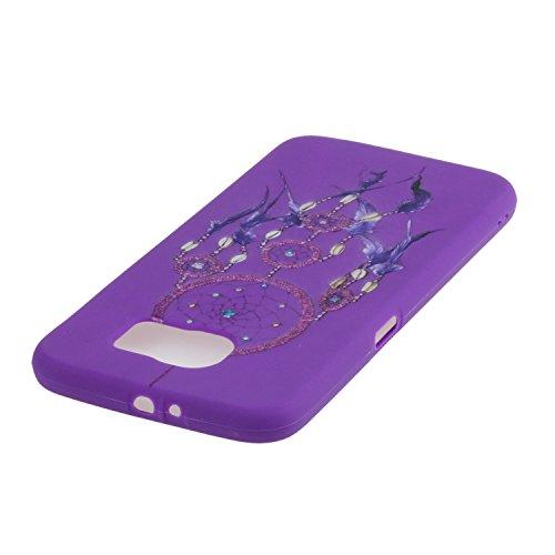 Voguecase® für Apple iPhone SE 5 5S 5G hülle, Schutzhülle / Case / Cover / Hülle / TPU Gel Skin (Gelb/Lila Traumfänger) + Gratis Universal Eingabestift Lila/Lila Traumfänger
