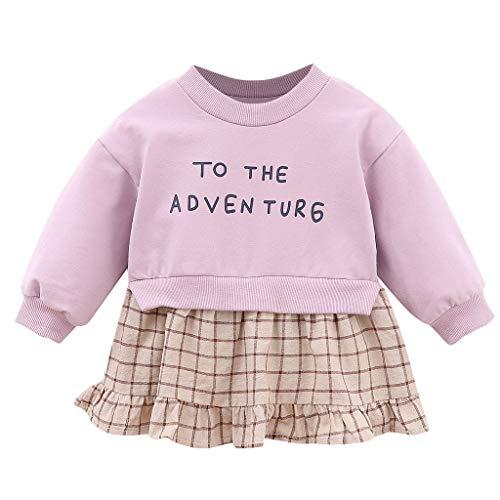 KIMODO Kleinkind Baby Mädchen Brief-Druck Plaid Patchwork Kleid Langarm Herbst Winter Urlaub Kleider Prinzessin Party Outfit Kleidung -