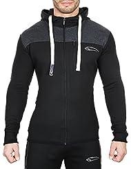 SMILODOX Slim Fit Kapuzenpullover Herren | Zip Hoodie für Sport Fitness Training & Freizeit | Trainingsjacke - Sportpullover - Sweatjacke mit Reißverschluss
