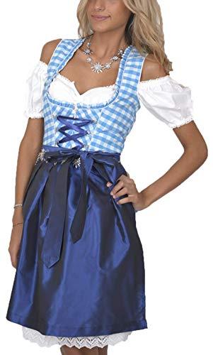 Dirndl Set Trachtenkleid 323GT Blau Weiß Kariert (42)