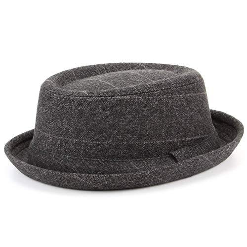 Hawkins Porkpie-Hut mit Hutband, Grau, Tweed - 59 cm - Tweed-trilby