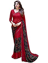 Craftsvilla Women'S Georgette Saree With Blouse Piece (Mavan11723736170_Red)