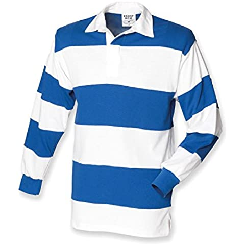 Front Row Sewn Stripe Long Sleeve Rugby Shirt - Cucito A Righe Maglia Da Rugby