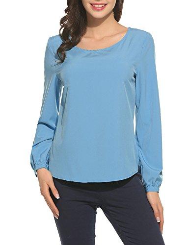 Trudge Damen Chiffon Bluse Elegant T-Shirt Sommer Blusen Loose Fit Tops Tunika Oberteil (L (Herstellergröße: L), See blau)