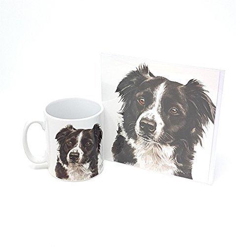 Ensemble 2 pièces chien border collie fabriqué en Royaume-Uni Tasse en céramique mug pot accueil anniversaire carte de Noël
