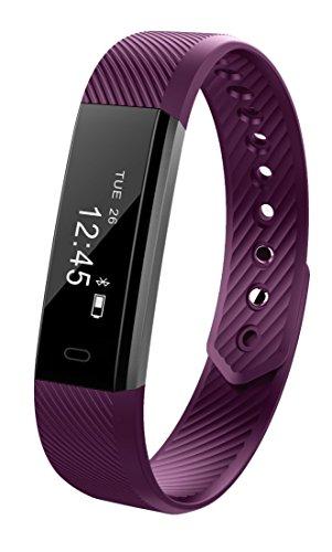 Am.Fit Fitness-Tracker (ID115) mit Schrittzähler, Anzeige der zurückgelegten Distanz, Zähler für verbrannte Kalorien, Schlaf-Monitor, USB-Ladekabel, IP65Wasserdichtheits-Bewertung, OLED-Display, Bluetooth-Verbindung zu Android und Apple möglich, violett