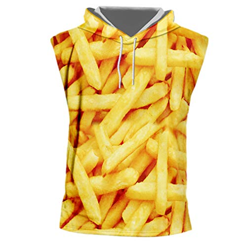 Sleeveless T-Shirts mit Kapuze Mode O-Neck Essen 3D T-Shirt Drucken Pommes Frites Chips Kostüm Männer Unterhemd Cap Shirts French Fries Chips 7XL