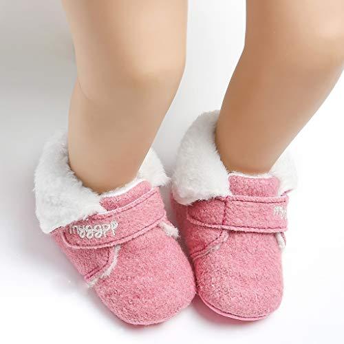 WEXCV Unisex Baby Jungen Mädchen Schuhe Winter Warm Einfarbig Plüsch Kleinkindschuhe Booties Schneeschuhe Niedlich Freizeit Schuhe Lauflernschuhe für 0-15 Monate