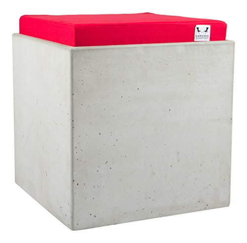 CARVIDO Design Hocker Beton gepolstert mit Tragesystem  Sitzwürfel  Betonhocker, Quado, rot, 40x40x43 cm, 20202
