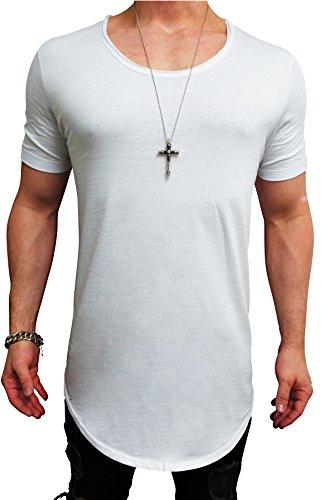 Herren Oversize Designer T-Shirt Tee Longshirt basic slim-fit kurzarm lange Oversized männer ausschnitt long men mens fit sweatshirt shirts neck v rundhals grau sportive langarm hemd mode baumwolle (L, Weiß)