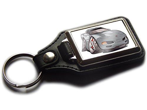 chevrolet-corvette-c5-sports-car-premium-koolart-leather-and-chrome-keyring-choose-a-colour-silver