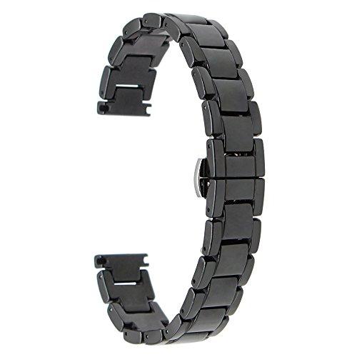 TRUMiRR 14mm Keramik + Edelstahl Uhrenarmband Schnellwechselbügel für Pebble Time Round 14mm Damen und andere Uhren mit 14mm Wide Lug