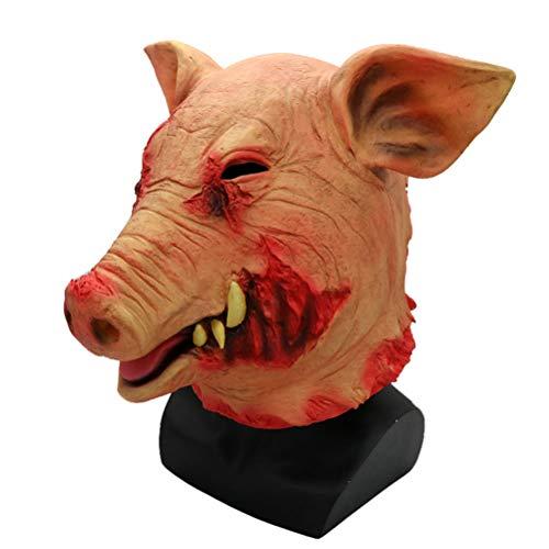 HBWJSH Schweinekopf Maske Schwein Acht Ringe Halloween Latex Tier Maske Streich Horror Scary Requisiten