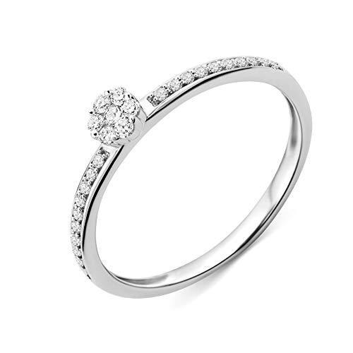 Miore Ring Damen Diamant Verlobungsring Weißgold 9 Karat / 375 Gold Diamanten Brillanten 0.15 Ct, Schmuck (Schmuck Gold Ringe Diamant)