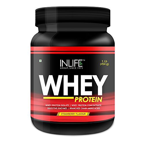INLIFE Whey Protein Powder - 1 lbs (Strawberry Flavour)  available at amazon for Rs.1264