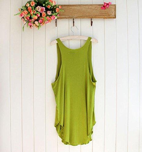 LONUPAZZ t-shirt debardeur femme sans manches tops veste tank tops chemise blouse Vert