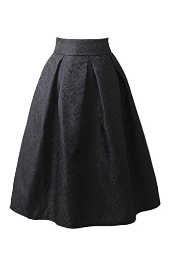 Vemubapis Las Mujeres De Cintura Alta Jacquard Monocolor Plisado Swing Vintage, Falda De Tutu Black XXL