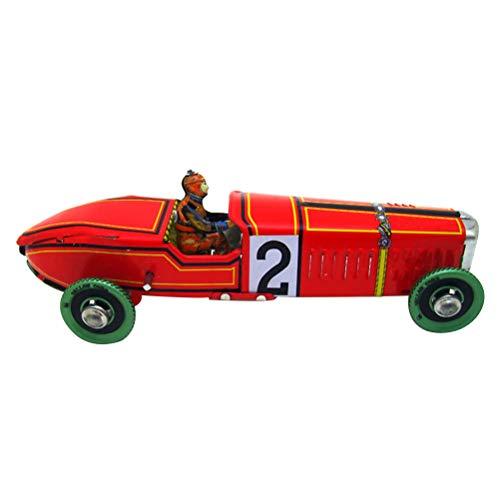 Vosarea Vintage Racing Auto Modell Retro Wind Up Uhrwerk Zinn Spielzeug Sammler Geschenk für Home Store Ornament (rot) - Spielzeug Wind-up Zinn