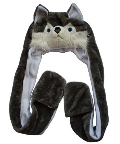 Kostüm Wolf Hut - JOYHY Unisex Kinder Winter Plüsch Kostüm Hut mit Pfoten Tier Hüte Grau Wolf