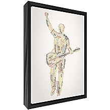 Feel Good Arte Moderno y lienzo en Quirky–cuadro de pared enmarcado en negro con frontal, sólido, macho guitarrista design-autumnal tonos, 64x 44x 3cm (grande), madera, multicolor, 44x 34x 3cm