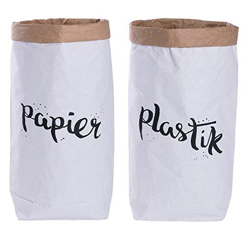Set di due sacchi di carta kraft cilindrici,sacchetti per raccolta differenziata, marroni e bianchi con scritte in lingua tedesca