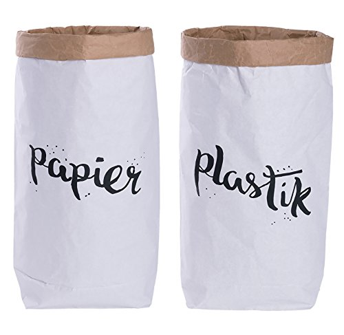 2er Pack Papiersack rund Paper Bag Kraftpapier Beutel Mülleimer Braun Weiß \'papier & plastik\'