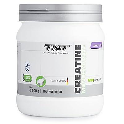 TNT Creapure® - Hochwertiges Creatin Monohydrat Pulver fuer Muskelaufbau | Kreatin-Pulver zur Unterstuetzung im Kraftsport & Bodybuilding | Nahrungsergaenzung - Vegan, Geschmacksneutral | 500g. Dose.