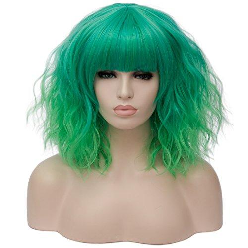 labeauté u-power68Frauen Cosplay Perücke Hair Ombre kurz gelockt Wave Perücken Kostüm Teil Bob flauschig Full Perücken Hitzebeständiger Kunstfaser Perücke/Ombre grün