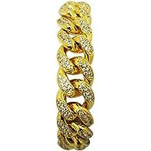 LUOEM Hip Hop Armband Kette Herren Schmuck Kristall Strass Diamanten Kubanisches Gold Überzogene Gliederkette 20 cm
