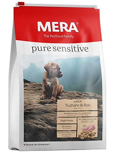 MERA pure sensitive Junior Truthahn und Reis Welpenfutter - Trockenfutter für die tägliche Ernährung nahrungssensibler Welpen