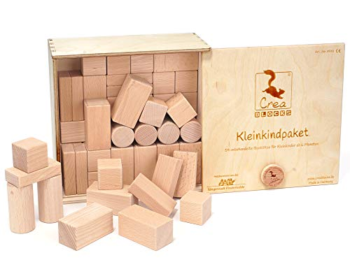 CreaBLOCKS Holzbausteine Kleinkindpaket 54 unbehandelte Bauklötze für Kleinkinder ab 6 Monaten (in der Schiebedeckelkiste) Made in Germany